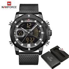 NAVIFORCE мужские спортивные часы, роскошные золотые кварцевые часы со стальным ремешком, водонепроницаемые военные цифровые наручные часы, ча...(Китай)