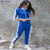 Fashion Casual Two-piece Female Slim Set Contrast Stitching Ruffled Lapel Sports Suit