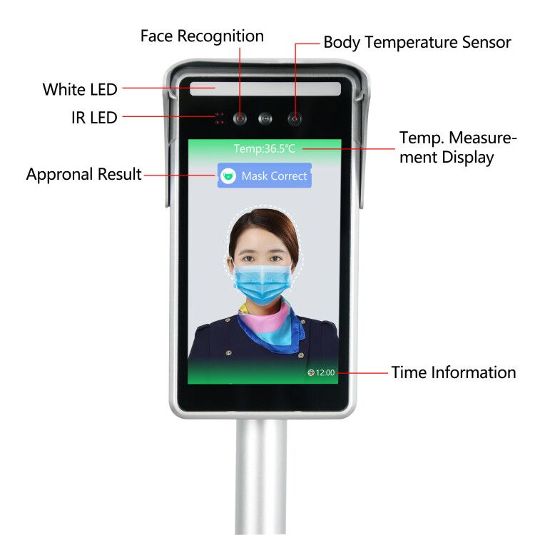 Mobile Installation 1080P Screen Resolution Measurement Detector Camera Masked Face Recognition Body Temperature Instrument