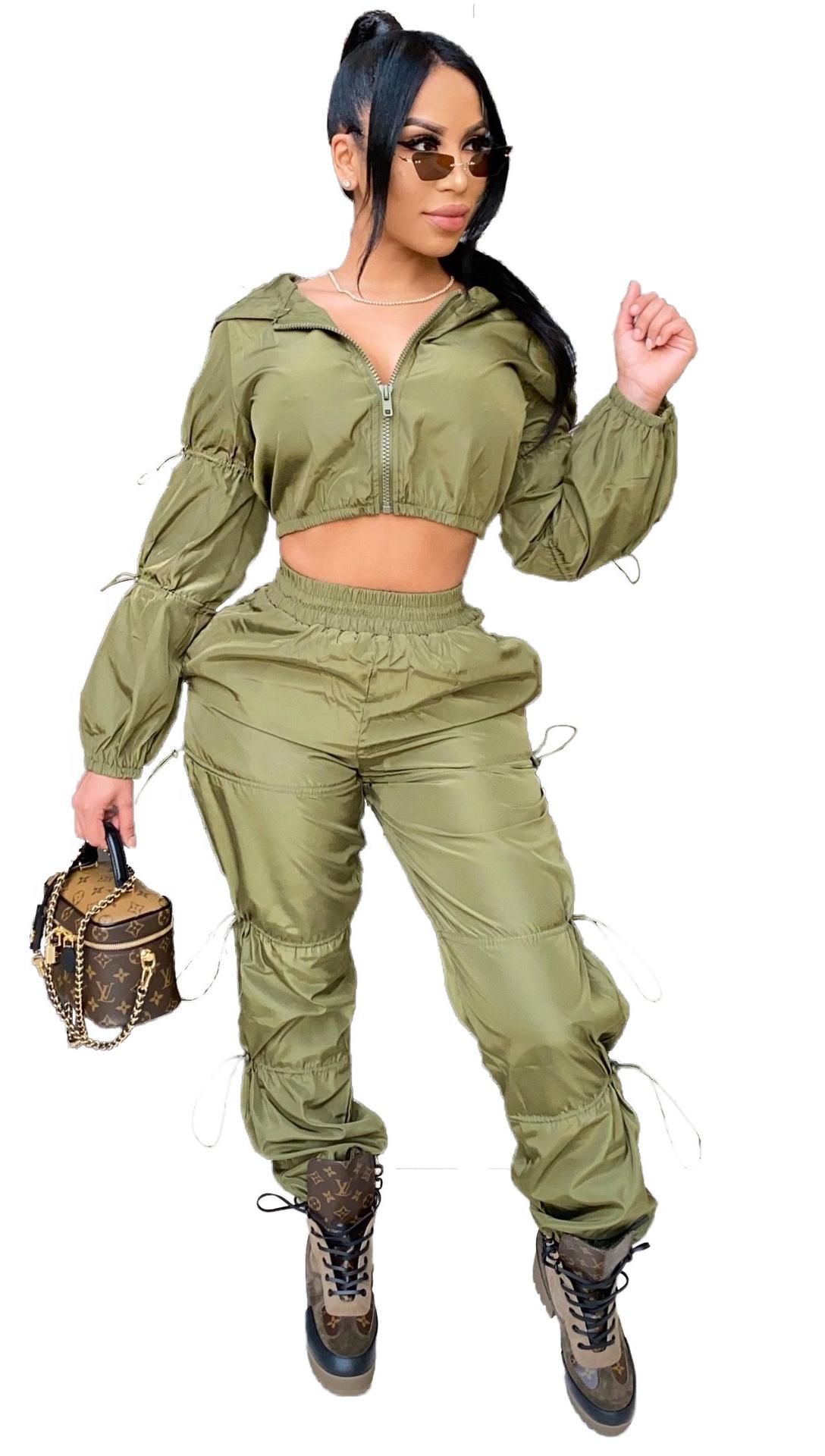 Plus size Long sleeved elastic trousers drawstring crop top jumpsuit women two piece leggings set DMCY1264