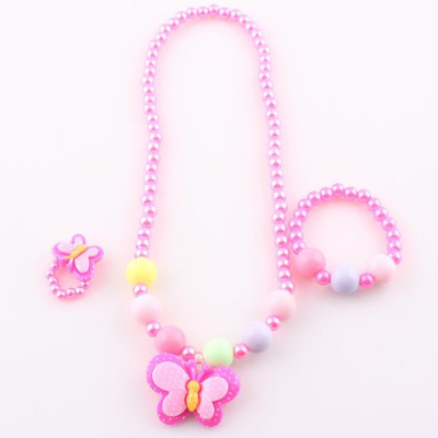 Butterfly Children's Necklace Jewelry Set Chain Kids Bracelet Ring Set Jewelry