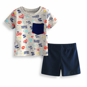 Hot sale short sleeve children full print suit baby boy casual clothing suit
