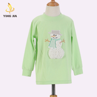 Long Sleeve Blank Embroidery Breathable Children Top Wholesale baby girl Clothing T shirt