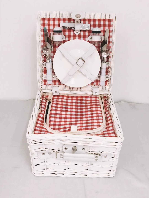 格安クラシック絶縁 2 人籐白ピクニックバスケットセット
