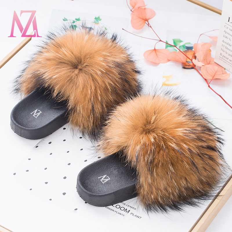 USA MZ big fluffy luxury mink baby custom color fur slippers sandals wholesale vendor fox raccoon kids fur slides for women, Any color can make