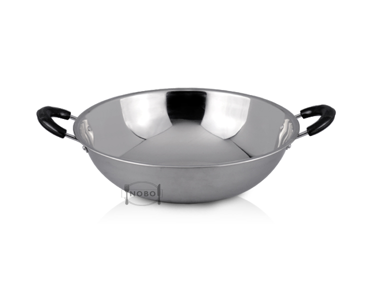 Home kitchen appliance cooking deep round frying wok steel fry pan