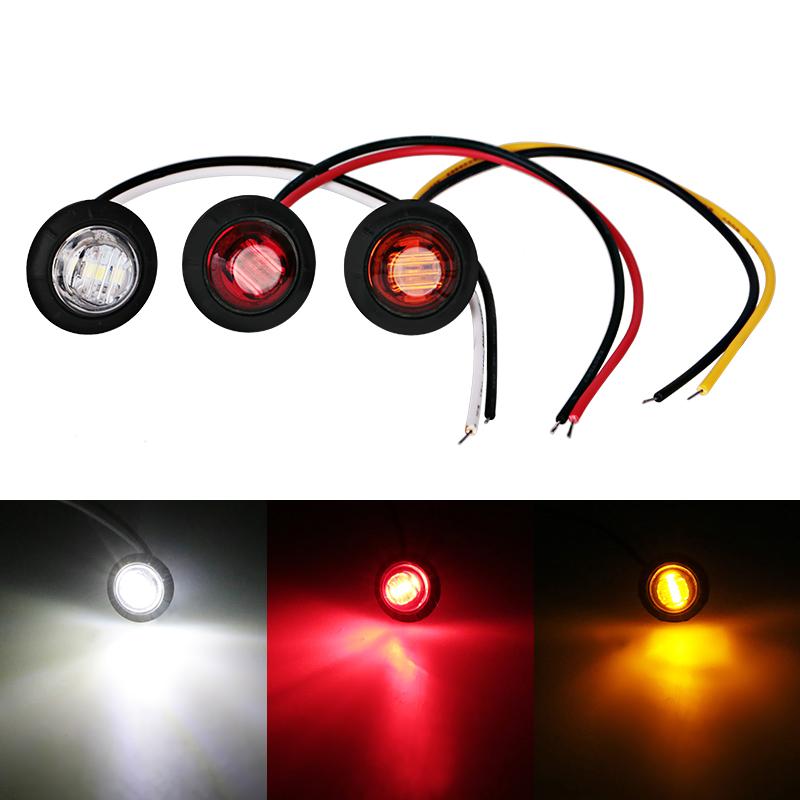 3LED Truck Bus Trailer Side Marker Clearance Indicators Red White Amber side light