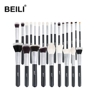 BEILI black 25 makeup brush set Natural Goat Pony Hair Professional Make up Brush Set private label wholesale makeup brush set