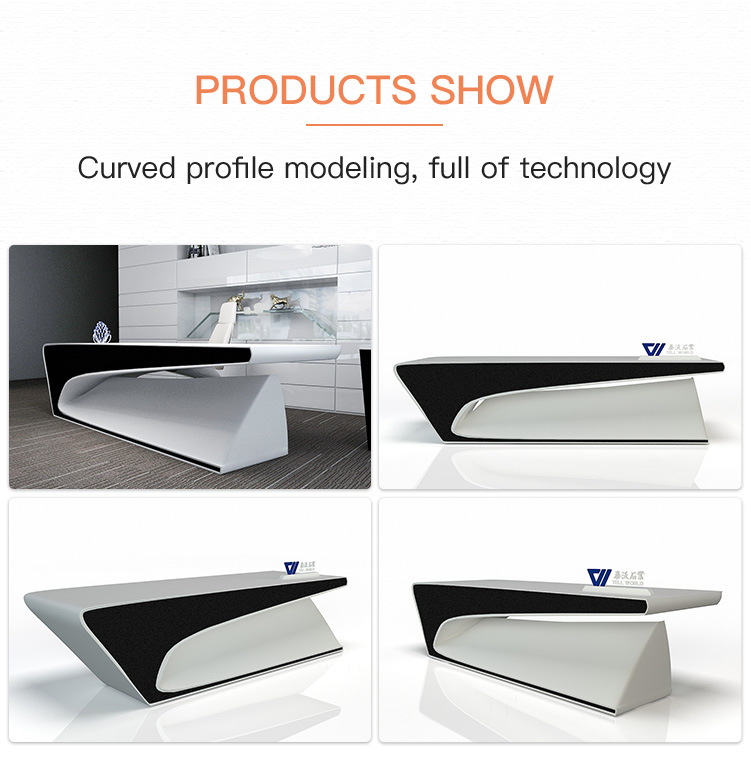 China Factory High Gloss Solid Surface Design White Creative Desk Office