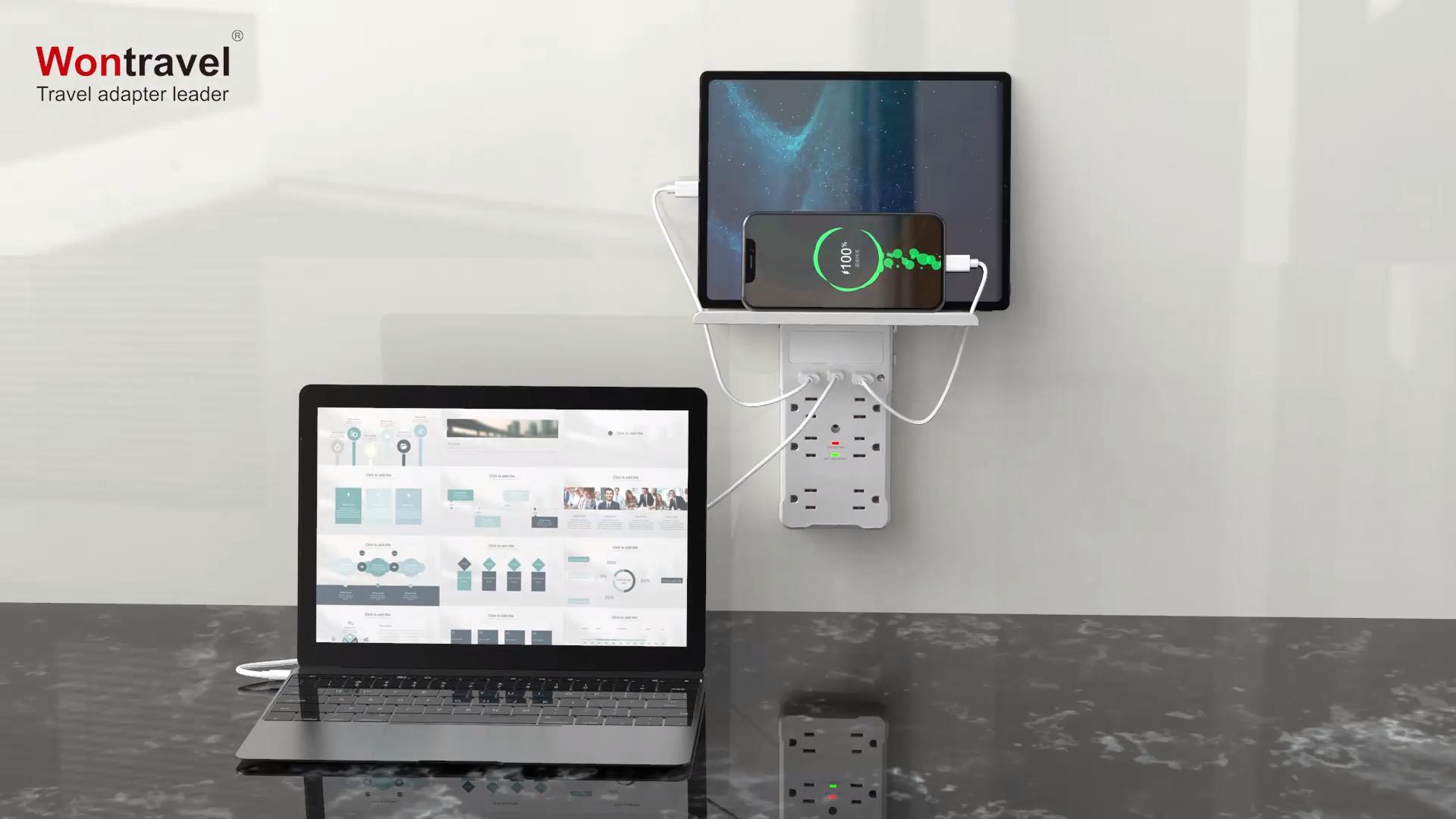 Wontravel 6 Port Surge Protector Đa Cắm Loại C 2 USB Power Strip Mở Rộng Tường Outlet Kệ Với Ánh Sáng Ban Đêm