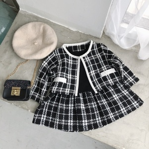 autumn toddler baby girl clothes sets formal fashion girls coat dresses plaid boutiques children's clothes fall high quality