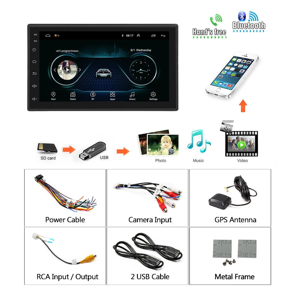 2din Android Mobil Multimedia MP5 Player Radio GPS Navi Wifi Auto Radio 2 DIN 7 Inci Layar Sentuh Bluetooth FM Audio mobil Stereo
