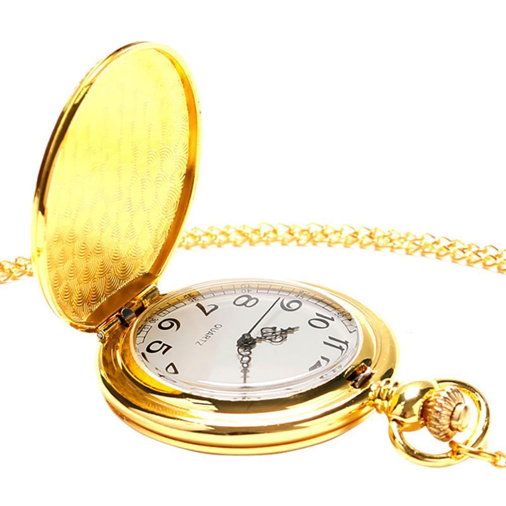 Wholesale Engraving Alloy Golden Thin Chain Quartz Pocket Watch for Men and Women