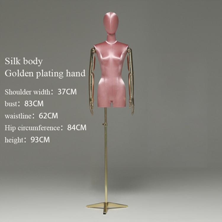 Шелковые ткани Позолоченные руки женские манекены с держателем шоу платья женщин верхней части тела окно дисплей модель манекен