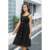 Summer New Style Sleeveless Long Pure Color Black Casual Dress With Strap