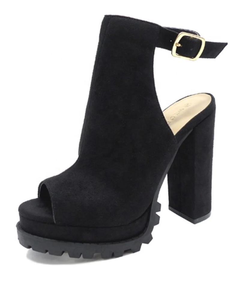 2020 Fashion Women Sexy Leopard Chunky Heel Boots Platform Peep Toe Thick High Heels Female Booties