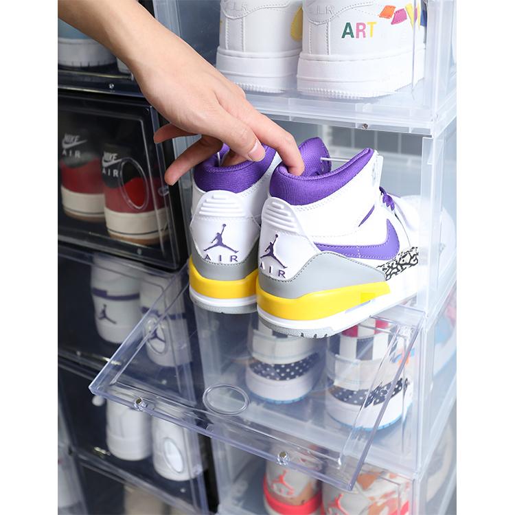 wholesale custom stackable drop front transparent shoe box