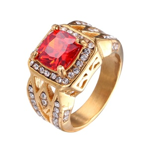 2019 New Arrivals 18K Real Gold Plating 316L Stainless Steel Material Rhinestone Stone Ring For Men Women