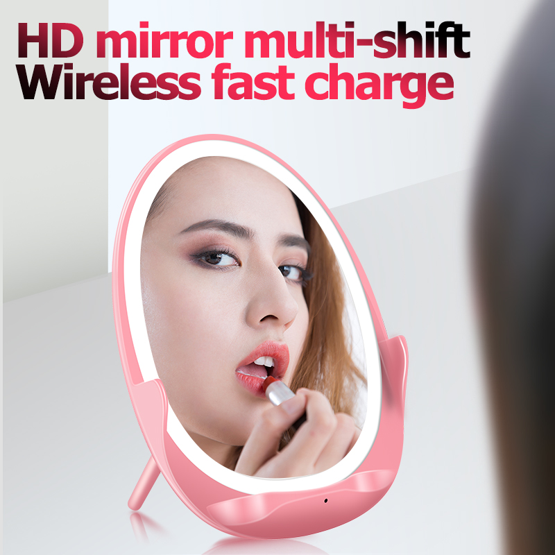 Grosir W100 QI Charger Lampu dengan Lampu LED Isi Ulang LED Light Makeup Cermin Folding Portable Charger Nirkabel