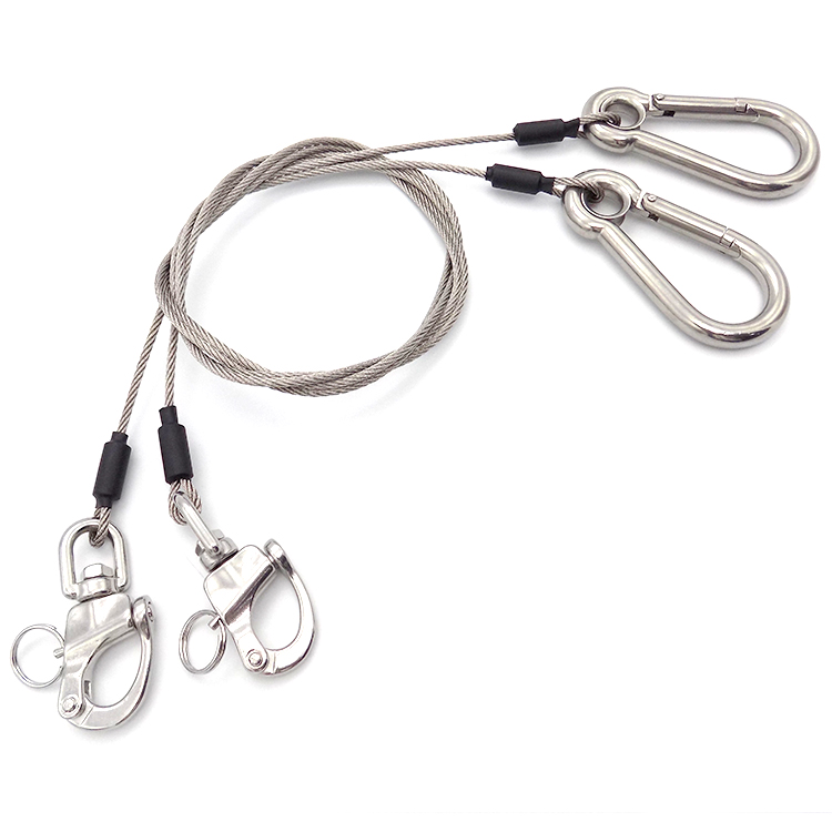 Hot Sale customized 304 Stainless Steel wire rope with Snap Hook eye lashing strap  for safety