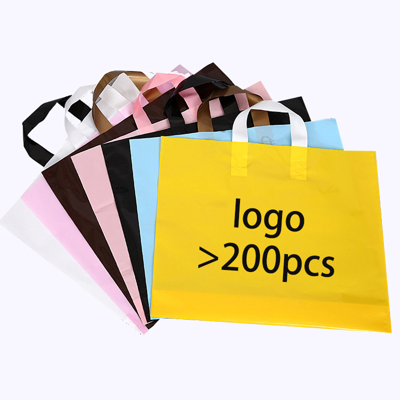25*35cm Logo Printing HDPE Plastic Shopping garment Bag with Handle