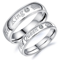 Custom Lover Jewelry King And Queen Engrave 925 Silver Couple Ring
