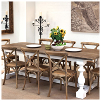 Cross back wooden dining table and chair set