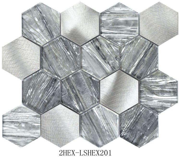 Inkjet mosaic 2HEX-LSHEX201 Agate Design glass mosaic Hexagonal laminated glass mosaic for Wall and kitchen