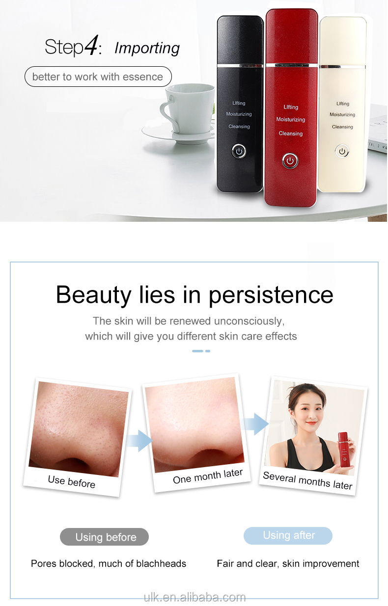 Hot Sell Portable Deep Cleansing Skin Beauty Care USB Rechargeable Ultrasonic Peeling Skin Scrubber