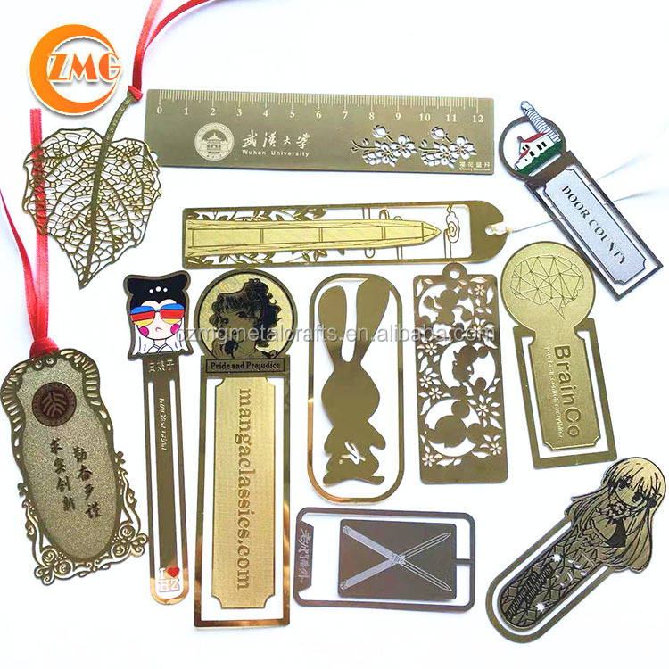 wholesale cheap standard size custom brass metal bookmark