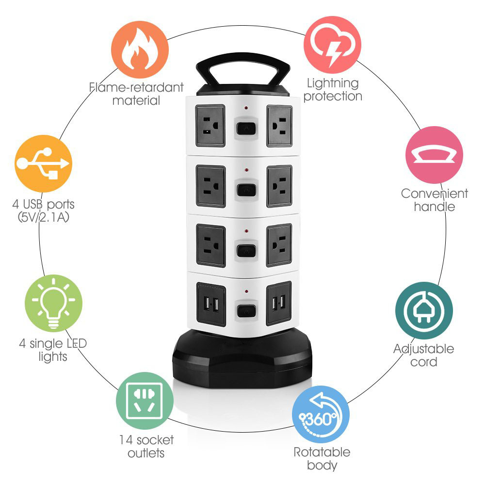 High quality safety surge protector UK electrical socket power strip for office