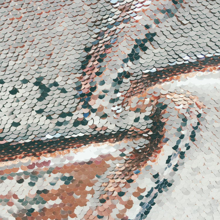 High quality 5mm embroidery mesh reversible sequin fabric