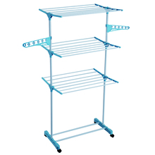 ODM 3 tiers disassemble & movable clothes drying rack tower shape laundry clothes drying rack with wheels