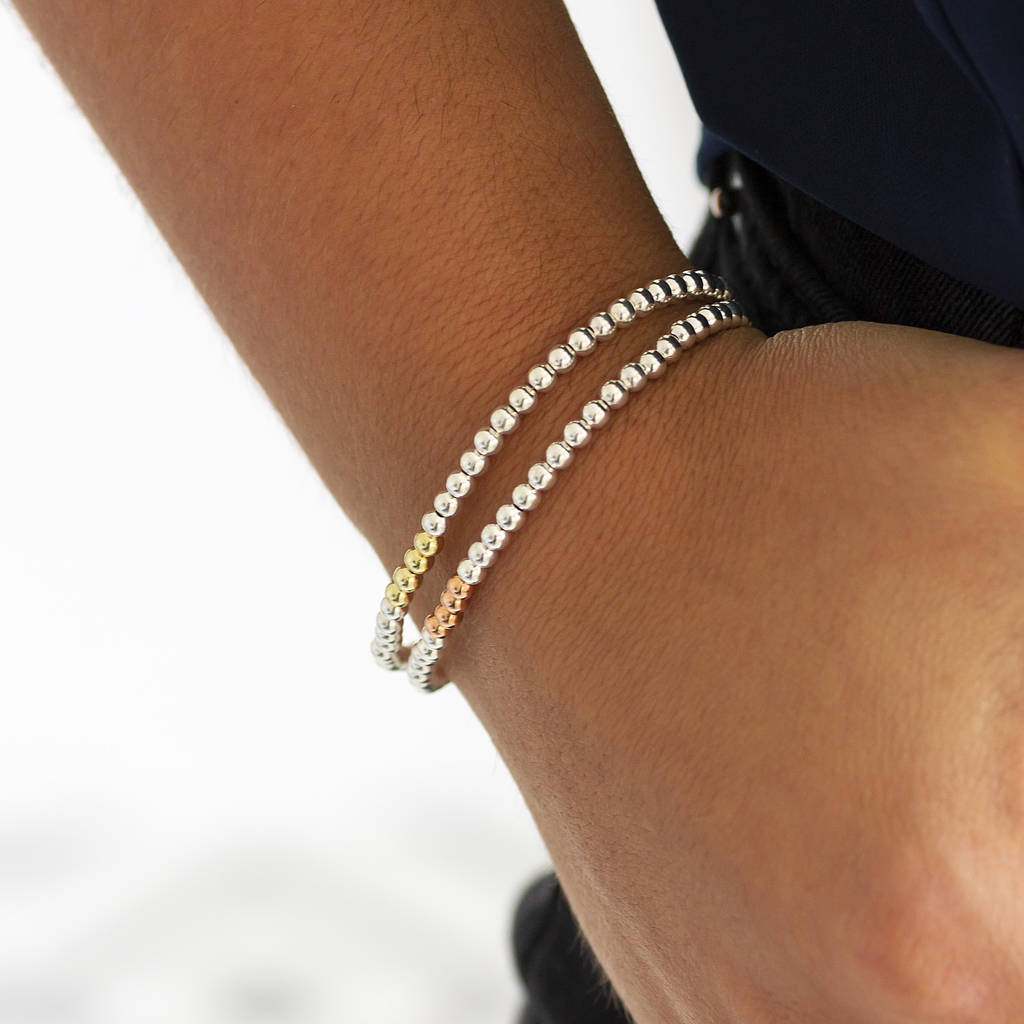 Simple Stainless Steel 4MM Gold Ball Beads Bracelet Stretch Silver Rose Gold Faith Gold Beaded Bracelet with Cross