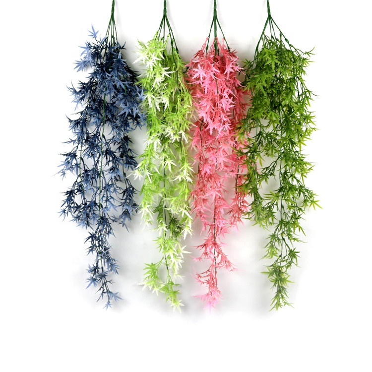 Professional New Style Making Decorative Artificial Flower Plastic Hanging Vine Maple Leaf