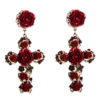 New American Baroque Style Rose Flower Filigree Cross Earrings White Red Black Alloy Cross Flower Dangle Earring For Ladies