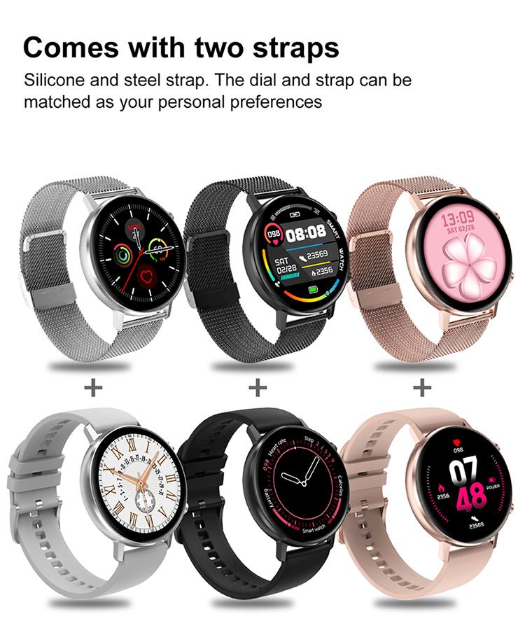 Smartwatch with Steel&silicon strap DT96 wrist watch blood pressure oxygen monitoring