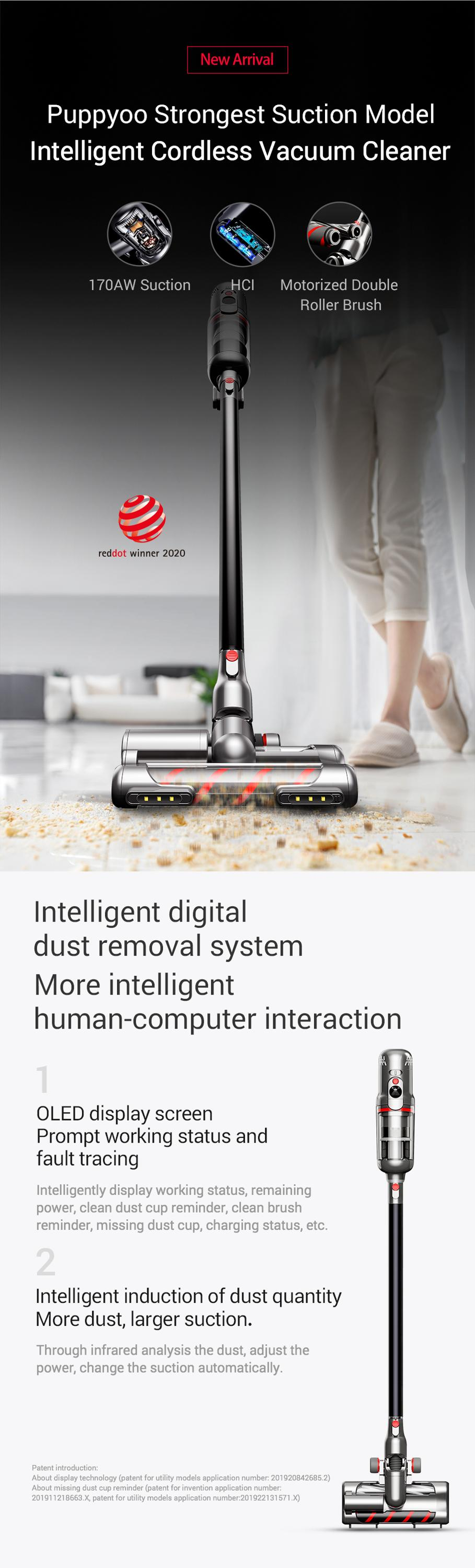Puppyoo T12 Mate  strong Suction  Cordless Vacuum Cleaner