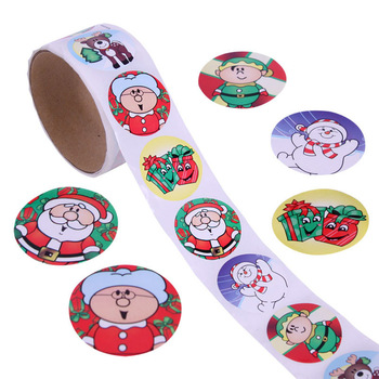 Custom Roll Adhesive Small Labels Happy Holiday Merry Christmas Cartoon Stickers for Christmas Decoration Promotion Gift