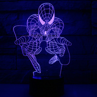 3D Mode Spiderman Ironman Cartoon LED Night Light Decoration Table Lamp Nightlight 5V USB or 3AA Battery Charge Lights