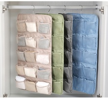 Closet Hanging Organizer with Mesh Pockets & Rotating Metal Hanger  for Bra Underwear Underpants Socks (20 Pockets)