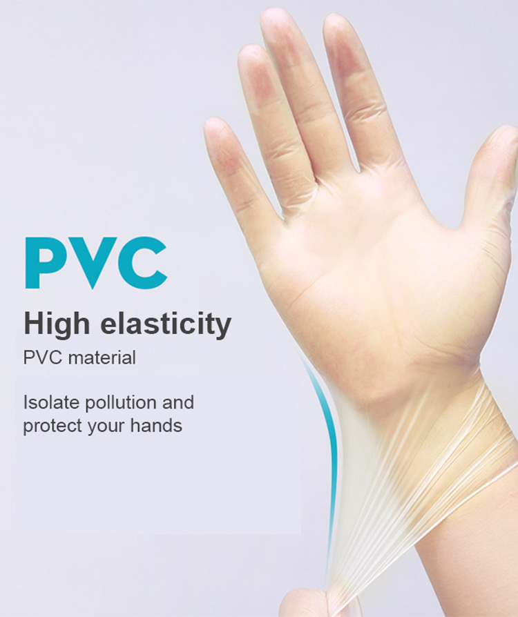 100pcs Safety Free Disposable Protective Transparent Pvc Gloves