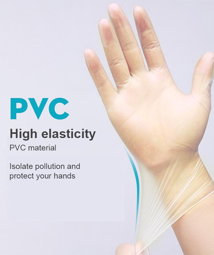 100pcs Safety Free Disposable Protective Transparent Pvc Gloves