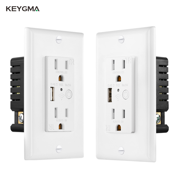 Keygma สมาร์ทซ็อกเก็ตและสวิทช์ผนังซ็อกเก็ต Wifi และ USB