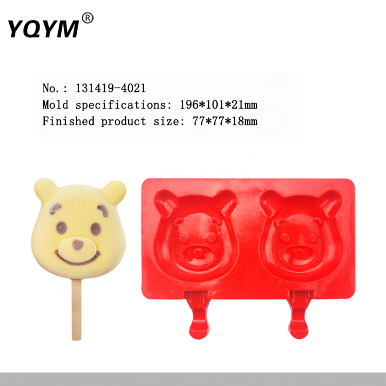 Custom Cheap Bear Shape Food Grade Silicone Ice Cream Popsicle Mold