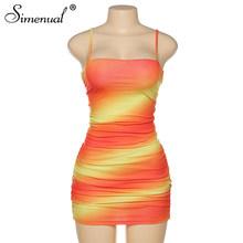 Simenual «вареный» оранжевого цвета с рюшами Для женщин Мини-платья ремень пикантные вечерние Клубное платье с низким вырезом на спине крест-на...(Китай)