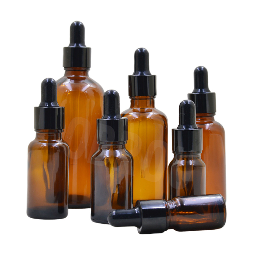 5ml 10ml glass clear/amber essential oil bottle 30 ml 50ml glass dropper bottle with gold cap for aroma perfume oil