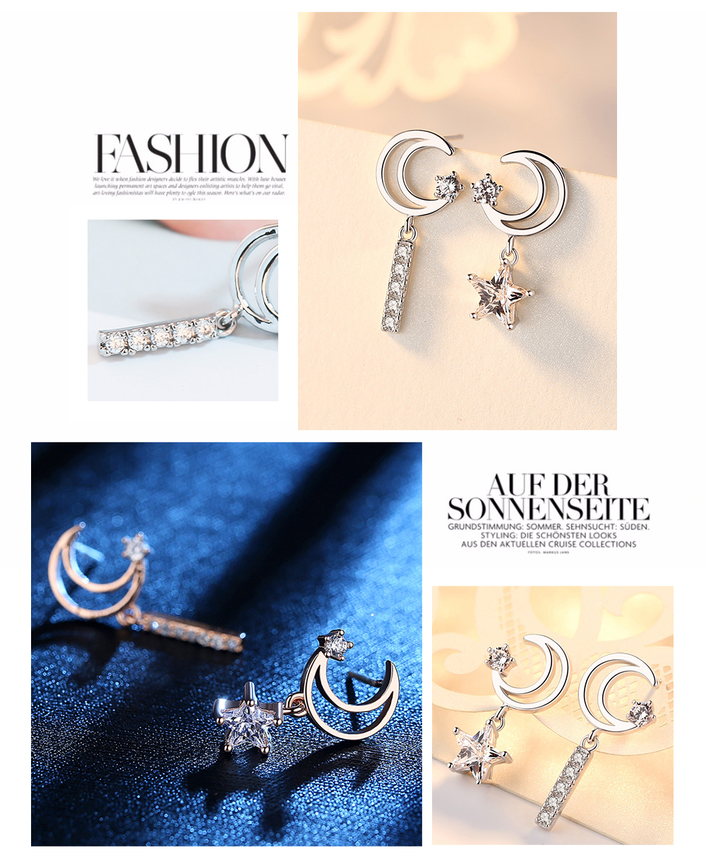 925 Sterling Silver Half Moon And Star Moon Earrings For Gifts