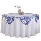 Wholesale Luxury China Classic Banquet Decoration Round Polyester White Tablecloth