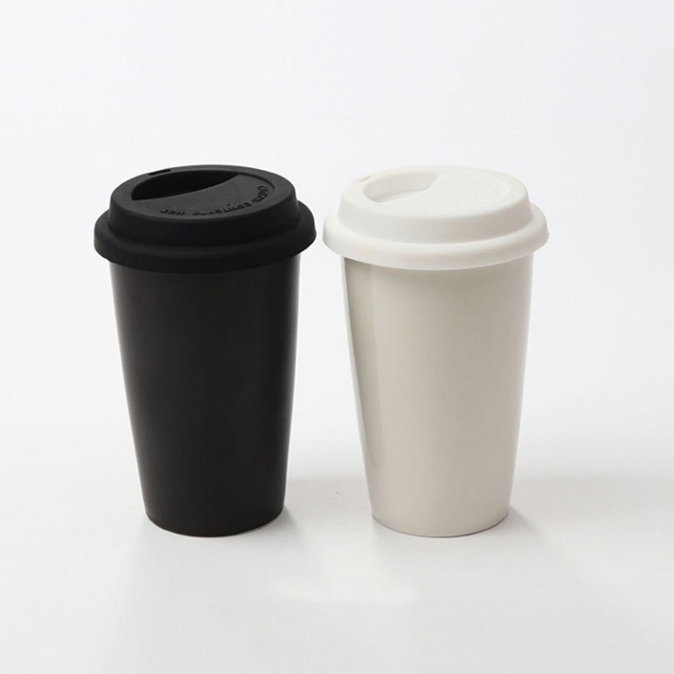 High quality custom double wall porcelain coffee mug cup coffee with silicone lid 301-400ml